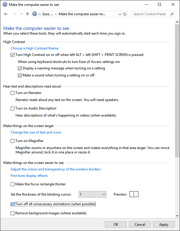 The 'Control Panel > Ease of Access > Ease of Access Centre' dialog, with the 'Turn off all unnecessary animations (when possible)' checkbox highlighted