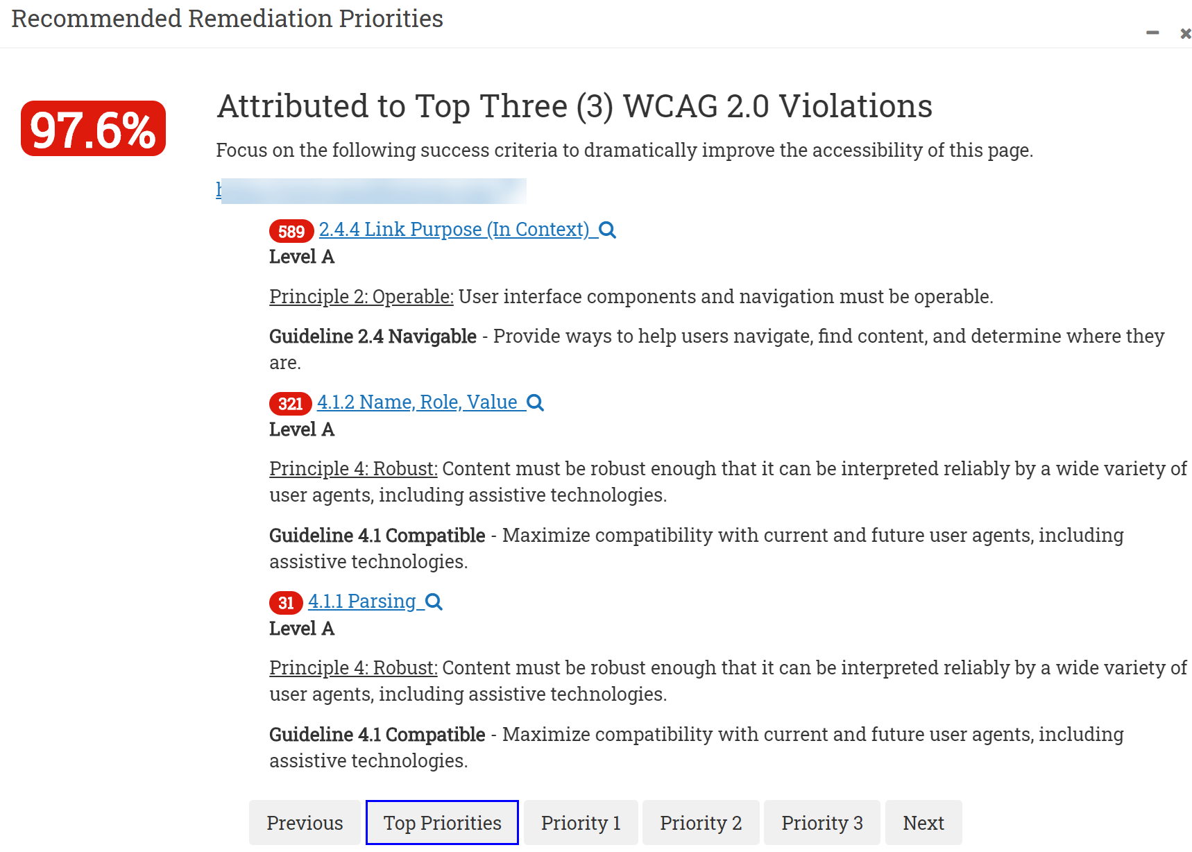 Screenshot of prioritized WCAG checklist Alerts and Errors