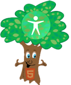 the accessibility tree, smiling and 2 thumbs up. With the universal access symbol in its foliage and the HTML5 logo on its trunk.