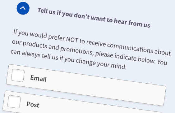 Section of an insurance broker website form that asks users to 'Tell us if you don't want to hear from us' and provides a series of checkboxes for users to opt-out of communications about products and promotions.