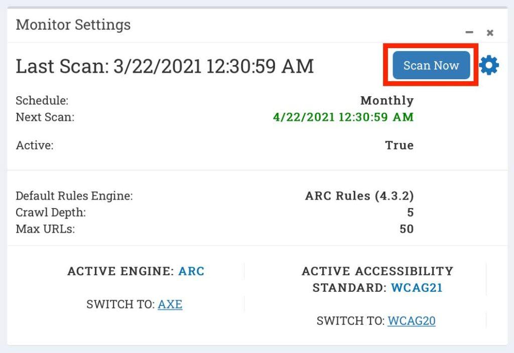 Scan button in ARC Monitoring dashboard