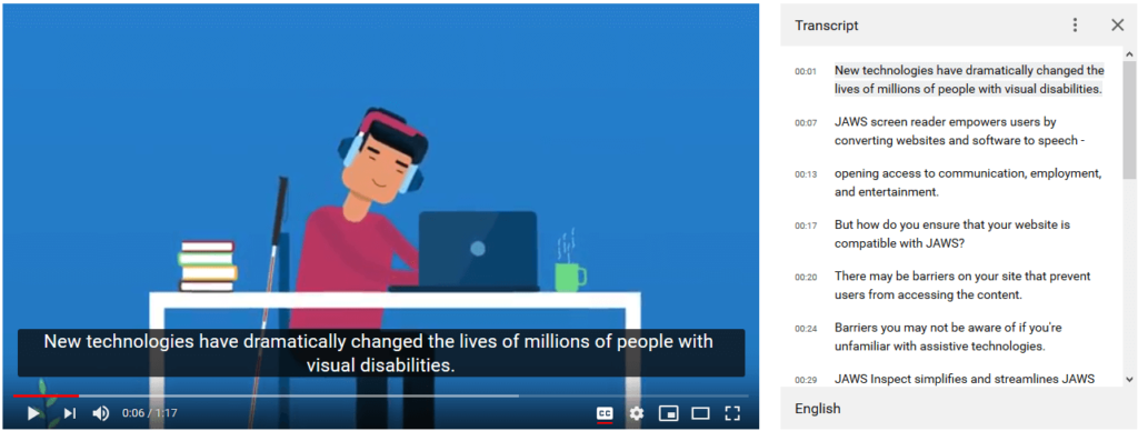 YouTube video with transcripts panel displayed.